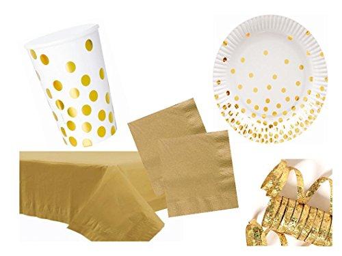 rr weiß/gold 46 teilig bis 12 Personen Teller Becher Servietten Geburtstagsset Grillparty Party Komplettset ()