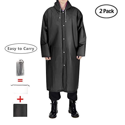EnergeticSky Moda Durevole Eva Impermeabile Rain Cappotto di Pioggia Poncho Unisex con Cappuccio e Maniche, Riutilizzabile, Portatile, Pieghevoli - By (Nero - 2 Pack)