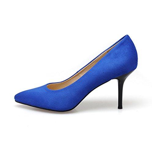 Damen Pumps High-Heels Nubukleder Einfach Klassisch Spitz Zehen Bequem Atmungsaktiv OL Freizeit Büro Schick Stiletto Blau
