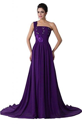 Sunvary Neu Ein-Traeger Abendkleider Lang Chiffon Ballkleider Partykleider Violett