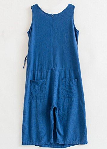 MatchLife Femme Sans Manche Robe Jumpsuit Pantalon Bleu