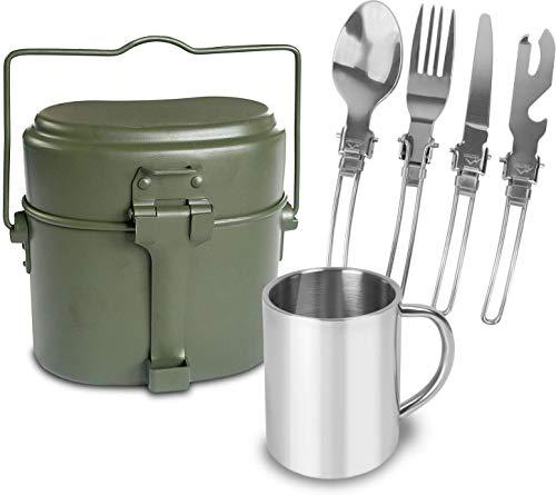 normani Outdoor Essgeschirr-Set bestehend aus Edelstahl Besteck, Tasse und BW Kochgeschirr Farbe Oliv