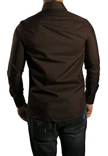 Herrenhemd Kent Kragen Slim-fit/Tailliert Muga Dunkelbraun