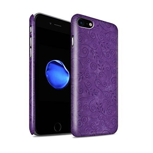 STUFF4 Glanz Snap-On Hülle / Case für Apple iPhone 8 / Rosa Muster / Blatt-Strudel-Muster Kollektion Lila
