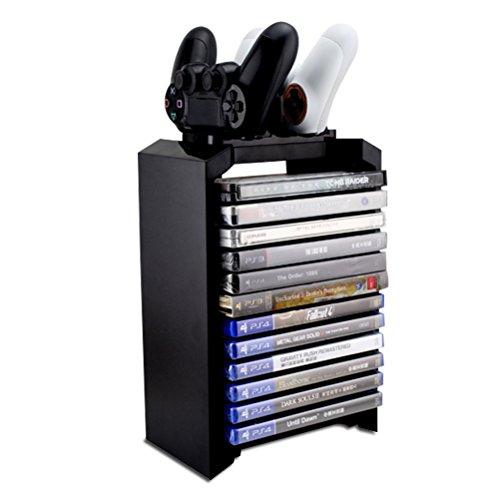 YCCTEAM® 3 in 1 Spiel Lagerung Games Tower & vertikale Standfuß & Dual-Controller-Ladegerät für dualshock 4 controller / gamepad / joystick - läden 10 spiele - playstation 4