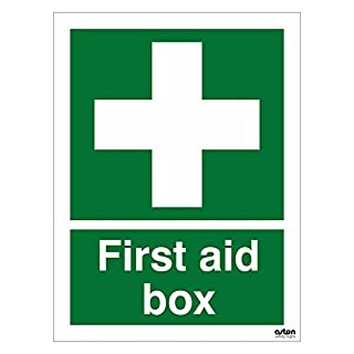 First aid box sign. 150mm x 200mm (1mm Thick Rigid Plastic)