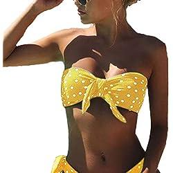 LYworld Bikini Mujer 2019 Dos Piezas Ropa con con Estampado de Lunares Traje de baño Conjunto de Bikini Push-Up Verano Acolchado Bra