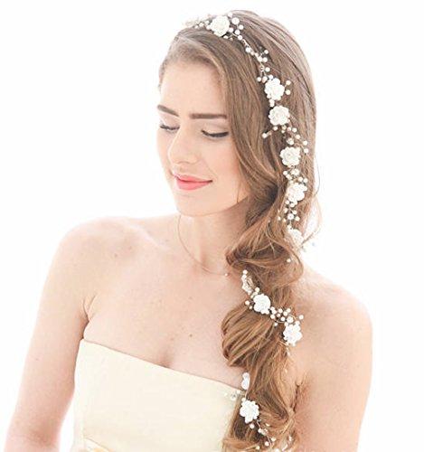 aukmla Hochzeit Haar Vine Lange Weiß Blume Silber Brautschmuck Hochzeit Kopfband für Braut und Brautjungfern