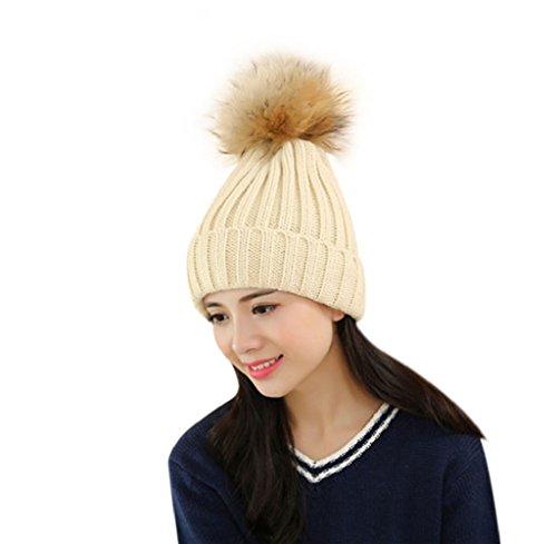 Tongshi Ganchillo de las mujeres de lana de punto Beanie sombrero caliente de la boina casquillo de la bola de esquí holgado invierno (Beige)