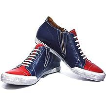 Modello Carpi - Handgemachtes Italienisch Leder Herren Navy blau Mode Sneakers Lässige Schuhe - Rindsleder Weiches Leder - Schlüpfen