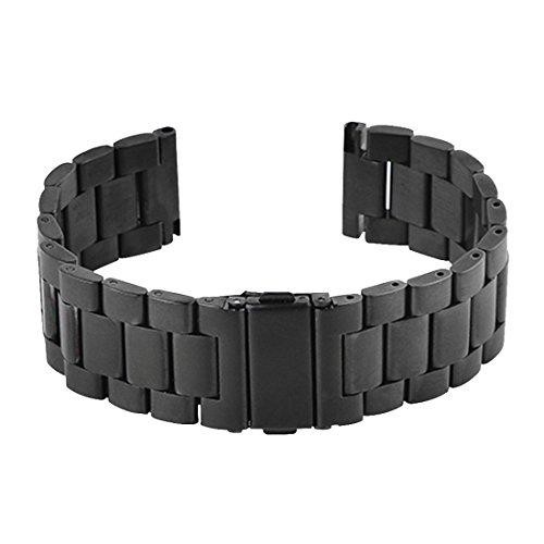 AUTULET Herren Leder Uhrenarmband schwarz 22mm (Leder-bereitstellung Uhrenarmbänder)