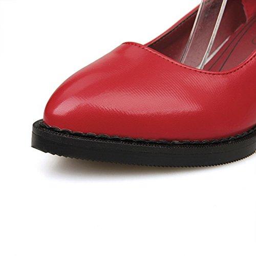 VogueZone009 Damen Schnalle Spitz Zehe Mittler Absatz Pu Leder Eingelegt Pumps Schuhe Rot