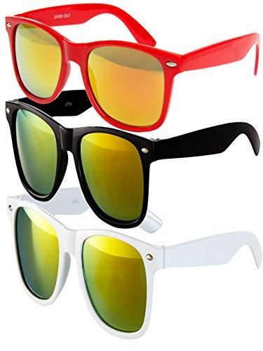 Ciffre 3 er Set EL-Sunprotect® Sonnenbrille Nerdbrille Brille Nerd Feuer Verspiegelt Rot Schwarz Weiß