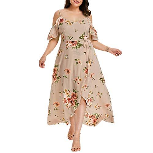 übergröße Kleider Damen Kolylong® Frauen Elegant V-Ausschnitt Blumen Kleid 3/4 arm Festlich Chiffon Langarm Kleider Midi Große Größen Kleid Lang Cocktail Partykleid Abendkleid