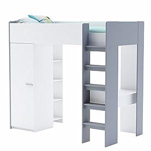 "Demeyere 400039 ""Filou"" High Sleeper with Wardrobe/Bookcase/Desk, Wood, Pearl White/Grey, 90 x 200 cm"