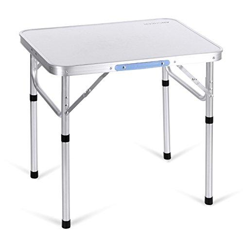Ancheer Klapptisch Campingtisch Gartentisch, Höhenverstellbar Tragbare Falttisch, Flohmarkttisch Koffertisch aus Aluminium, 60x45x55 cm