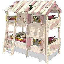 Cama infantil con techo de madera y contraventanas WICKEY CrAzY Creek 90 x 200 cm