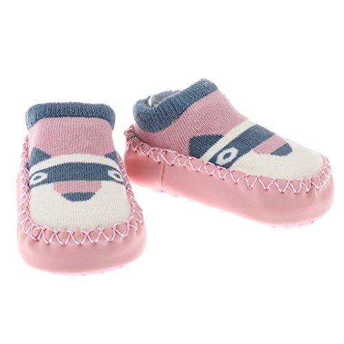 MagiDeal Antirutsch Babysocken lauflernschuhe Krabbelschuhe Babyschuhe Socken mit verschiedenen Motiven - Rosa Hund, 13