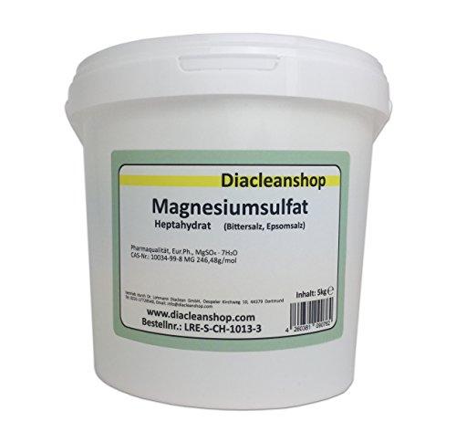 Epsom Salz 5kg - Bittersalz - Magnesiumsulfat - in Pharmaqualität (reiner als Lebensmittelqualität) - Badesalz für Magnesiumbäder