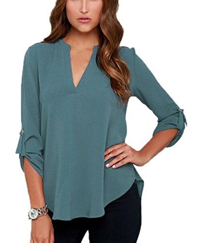 Bigood Femme T-shirt Chiffon Blouse OL V Col Chemise Uni Bleu Vert