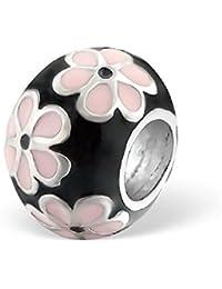 So Chic Joyas - Abalorio Charm Redondo flor - Compatible con Pandora, Trollbeads, Chamilia, Biagi - Plata 925
