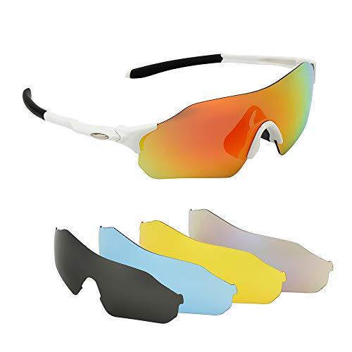 Fahrradbrille Ultraleicht Motorradbrille Polarisierte Sportbrille Sonnenbrille Sport Goggles Sportsonnenbrille Radbrille mit 5 Wechselbare Linsen für Laufen Fahren Fahrrad Angeln Wandern Outdoor Sport