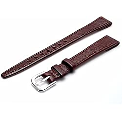 Ladies Open Ended Watch Band Strap for vintage watches. Genuine Leather 10mm Brown with Chrome (Silver Colour) buckle