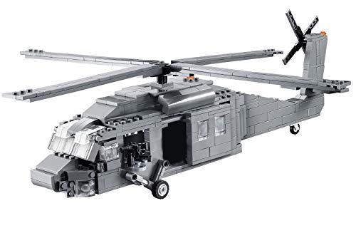 Modbrix Bausteine Hubschrauber Black Hawk Konstruktionsspielzeug mit 562 Bauteilen und 4 Soldaten Figuren
