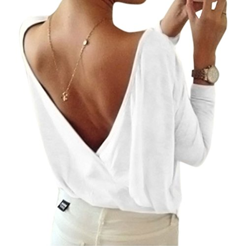 Minetom Donna Estate Moda Camicie Schiena Nuda Top Manica Lunga T-Shirt Sexy Design Indietro Scollo a V Bianco IT 42