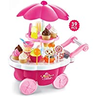 Dark Ice Cream and Sweet Shopping Cart Play Toy Set with Light and Sound Effect for Kids-Big-Pink