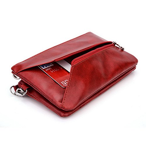 Kroo Pochette Portefeuille en Cuir de Femme avec Bracelet Étui pour Vivo – Platinum Edition noir - Black and Blue rouge - Red and Grey