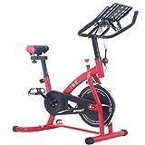 ISE 2019 Neusten Indoor Cycle Ergometer Heimtrainer 8kg Schwungrad mit LCD Anzeige,Armauflage,gepolsterte,Fitnessbike Speedbike mit flüsterleise Riemenantrieb-Fahrrad Ergometer (Rot)