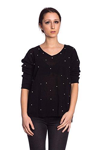 Abbino IG006 Langarm Shirts Tops Ragazze Donne - Made in Italy - Multiplo Colori - Mezza Stagione Primavera Estate Autunno Tenerezza Leggero Fascino Semplici Shirts Bluse Maglie Cotone Fashion Nero (Art. 17143)