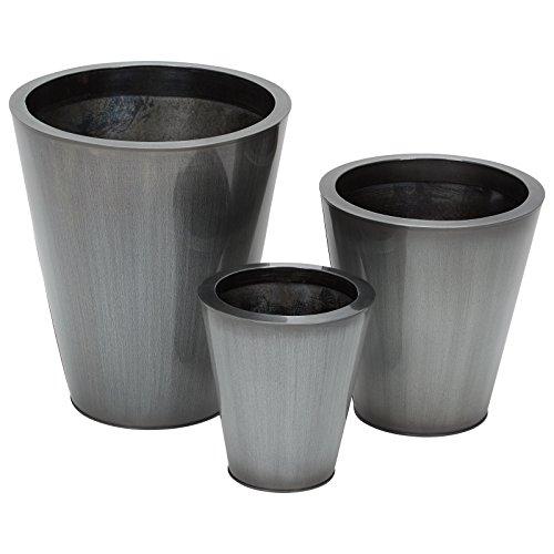 Gebraucht, 3er Set Übertopf rund Titan grau wetterfest frostfest gebraucht kaufen  Wird an jeden Ort in Deutschland