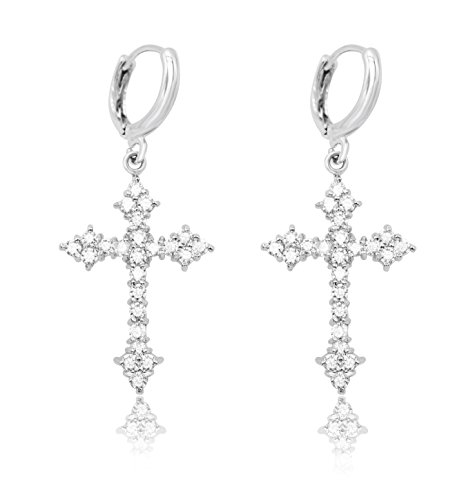 edad8adf0 KristLand - Silver Tone Full CZ Cubic Zirconia Elegant Sexy Cross Gothic  Hoop Piercing Drop Earrings with 18k White Gold Plated for Women