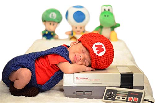 Neugeborenes Baby Mädchen häkeln Kostüm Outfits Fotografie Requisiten Super Mario Outfit Mario Hut+Hose 0-6 - Super Mario Kostüm Babys