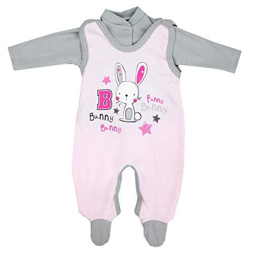 TupTam Baby Unisex Strampler-Set mit Aufdruck Spruch 2-TLG, Farbe: Kaninchen Rosa, Größe: 68 -