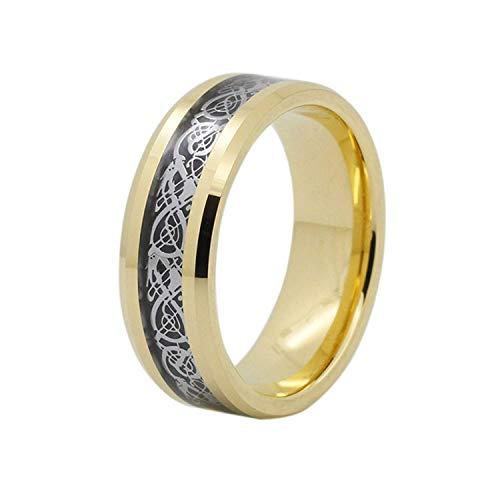 Da uomo in carburo di tungsteno 8mm argento dragone celtico, con fascia oro placcato comfort fit