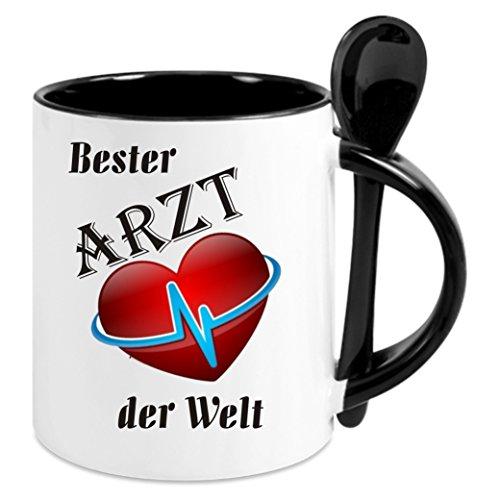 Kaffeetasse m. Löffel - 'Bester Arzt der Welt' - Kaffeetasse mit Motiv, bedruckte Tasse mit...