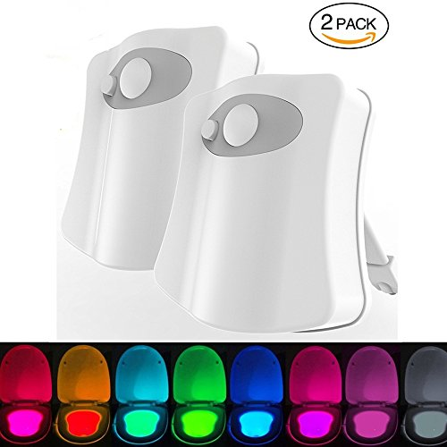 Toilet LED Motion Sensor WC Nachtlicht 2 Packung, WC Licht mit 8 Farben Wechselnde LED Toilette Lichtsensor Bewegungssensor Sitzleuchte Detektor Aktiviert WC-Schüssel Licht IP65 wasserdicht
