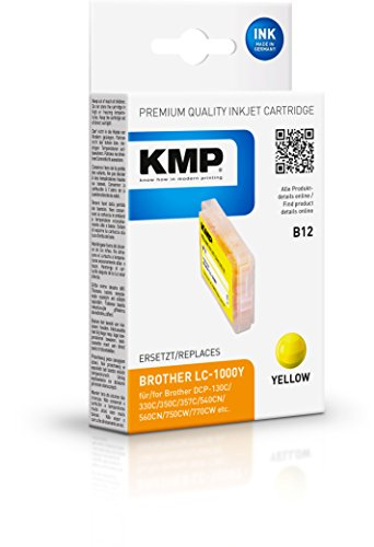 KMP Tintenkartusche für Brother DCP-130/MFC-240C, B12, yellow