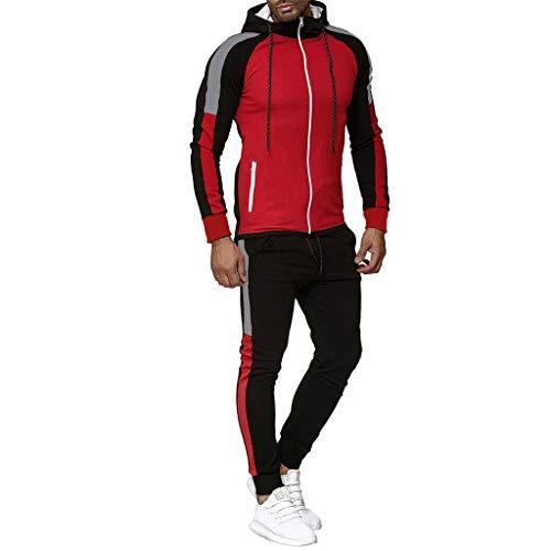 BHYDRY Herren Herbst Gradient Zipper Print Sweatshirt Top Hosen Sets Sport Anzug Trainingsanzug(X-Large,Rot) -