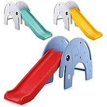 Baby Vivo Tobogán Parque para Infantil Niños Recto Diapositiva Interior y Aire Libre Juguetes Jardín Elefante en Rojo / Azul