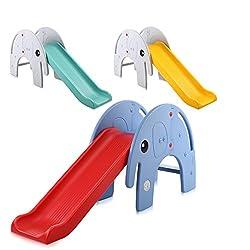 Baby Vivo Kinder Rutsche Gartenrutsche Kleinkinderrutsche Kunststoff Elefant Abgerundete Ecken & Kanten für Indoor & Outdoor in Türkis / Grau