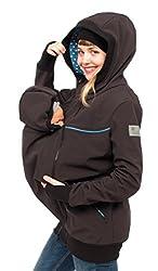 Viva la Mama 3in1 Kangurujacke für Babytragen Kapuzenjacke aus Softshell Schwangerschaft Jacke Umstandspulli Damen I Jacky schwarz Sterne - M