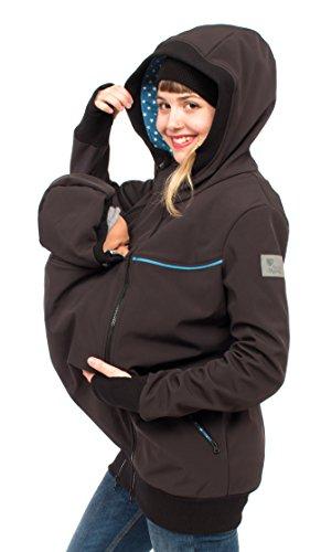 Viva la Mama 3in1 Känguru Jacke für Babytragen Kapuzenjacke aus Softshell Schwangerschaft Jacke Umstandspulli Damen I Jacky schwarz Sterne - L