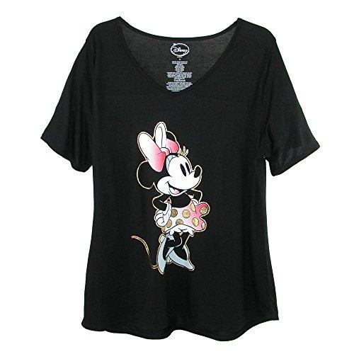 Disney Women's Plus Size Minnie Mouse V Neck T Shirt