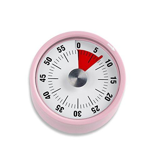 ADE Mechanischer Küchentimer TD 1704. Klassischer Kurzzeitmesser mit Rundskala zum Aufziehen. Durchmesser 6 cm. Akustisches Signal nach Zeitablauf. Zuverlässige Eieruhr. Farbe: Rosa