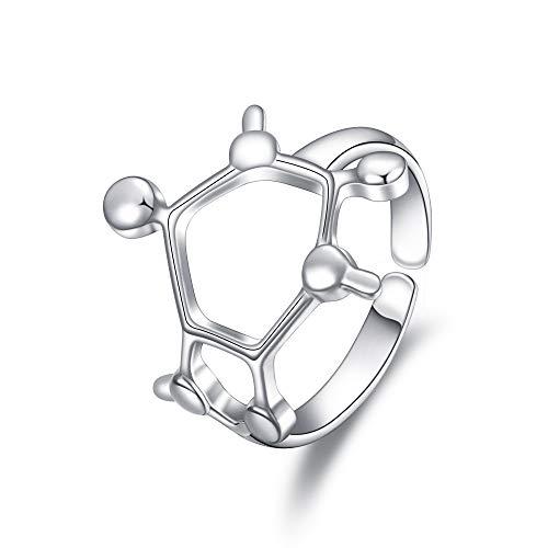 Clearine Damen Ring aus 925 Sterling Silber chemische Molekül-förmigen mit Six Dot Chemical Serotonin Molecule Cast verstellbaren Ring