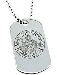 925 Sterling Silver Large St Christopher Dog Tag Pendant 40mm x 25mm With Optional 2mm Bead Ball Chain In Presentation Gift Box